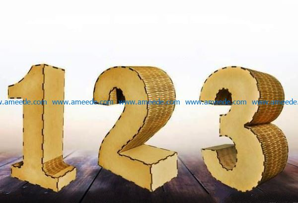 3d number file cdr and dxf free vector download for Laser cut