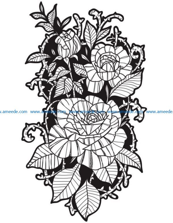 Ancient rose file cdr and dxf free vector download for laser engraving machines