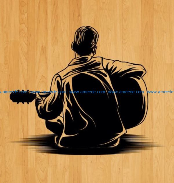 Back man playing guitar file cdr and dxf free vector download for laser engraving machines
