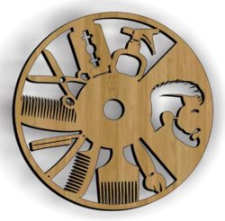 Barber wall clock file cdr and dxf free vector download for Laser cut