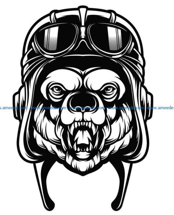 Bear with glasses file cdr and dxf free vector download for laser engraving machines