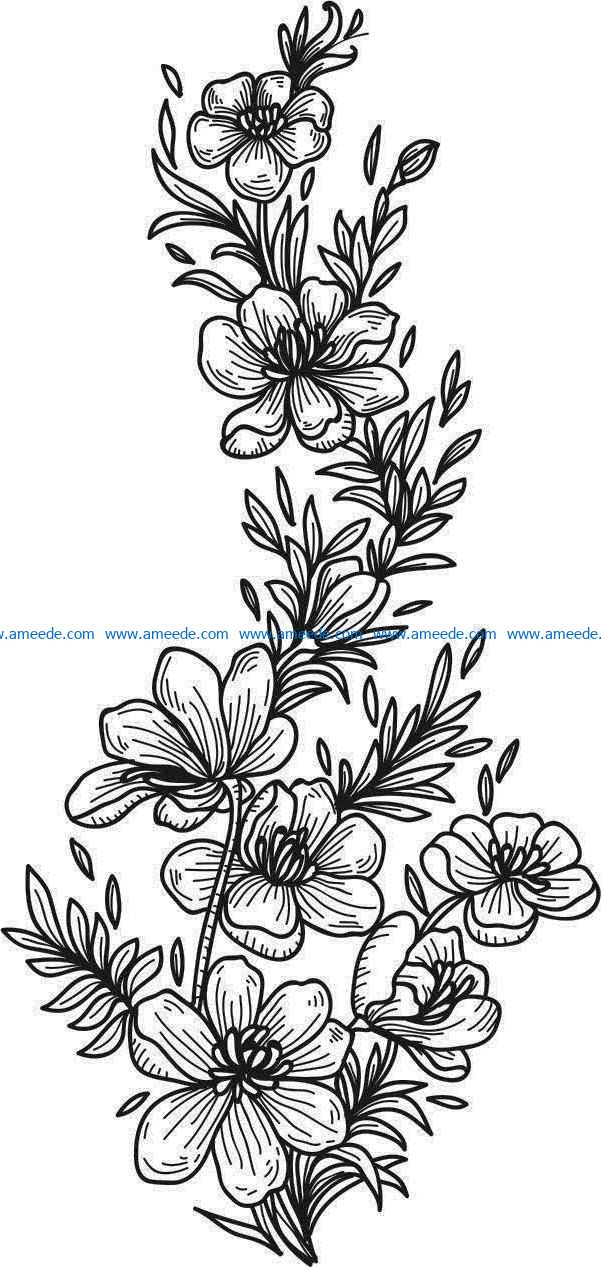 Beautiful carved flowers file cdr and dxf free vector download for laser engraving machines