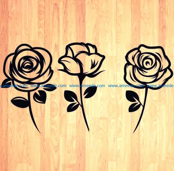 Beautiful carved roses file cdr and dxf free vector download for laser engraving machines