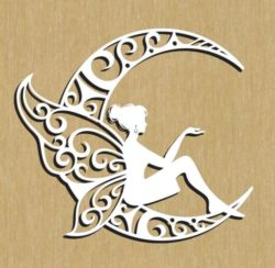 Beautiful fairies on the moon file cdr and dxf free vector download for Laser cut