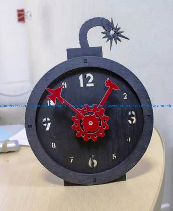Bomb clock file cdr and dxf free vector download for Laser cut
