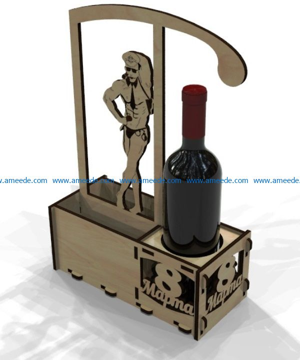 Bottle holder 8 March file cdr and dxf free vector download for Laser cut
