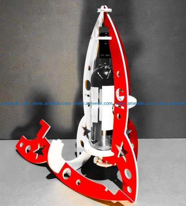 Bottle holder rocket file cdr and dxf free vector download for Laser cut