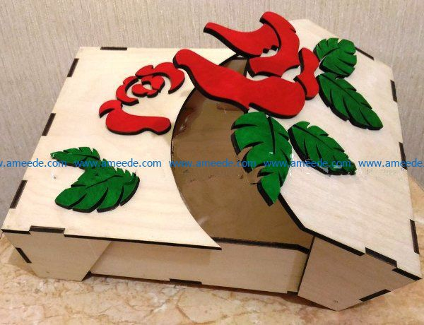 Box with a rose file cdr and dxf free vector download for Laser cut