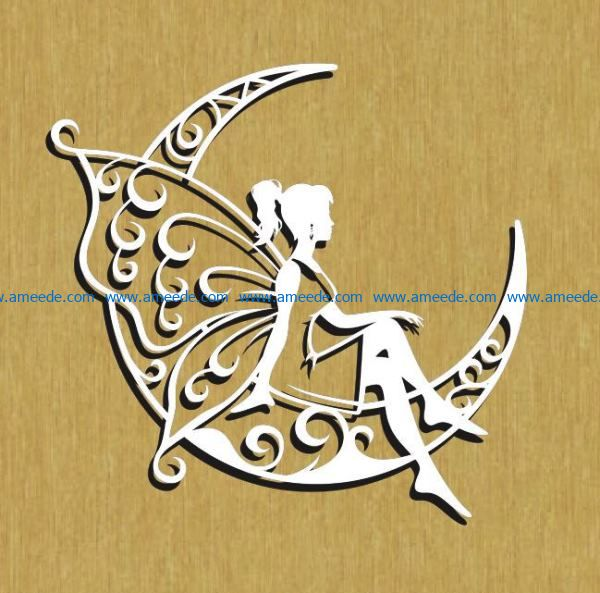 Butterfly fairy with moon file cdr and dxf free vector download for Laser cut