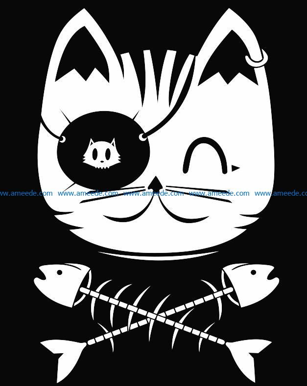 Cat with fish bone file cdr and dxf free vector download for laser engraving machines