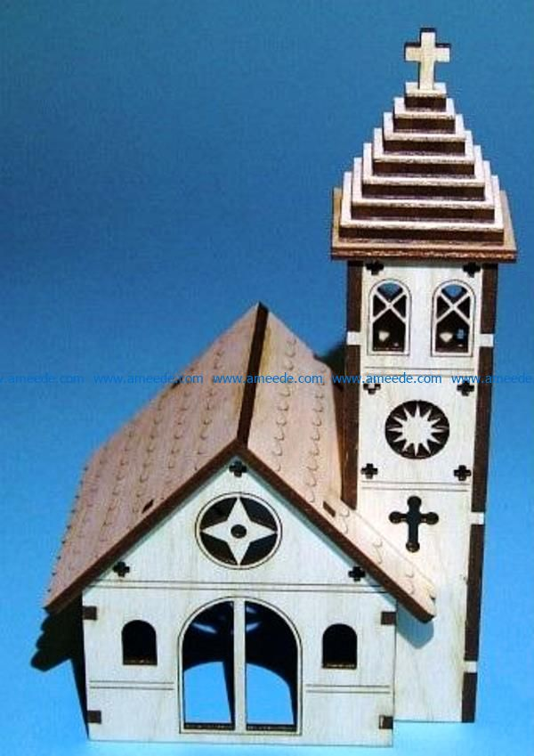 Church model file cdr and dxf free vector download for Laser cut