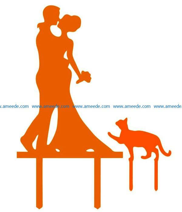 Couple and cat topper file cdr and dxf free vector download for Laser cut