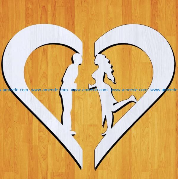 Couple with heart file cdr and dxf free vector download for Laser cut