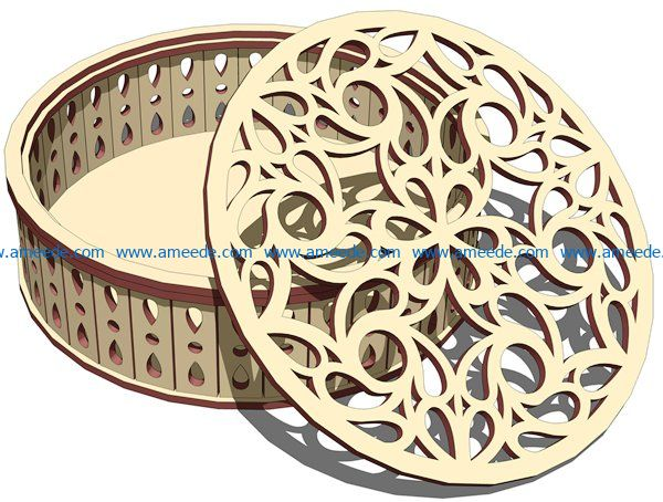 Cylindrical box with decoration file cdr and dxf free vector download for Laser cut
