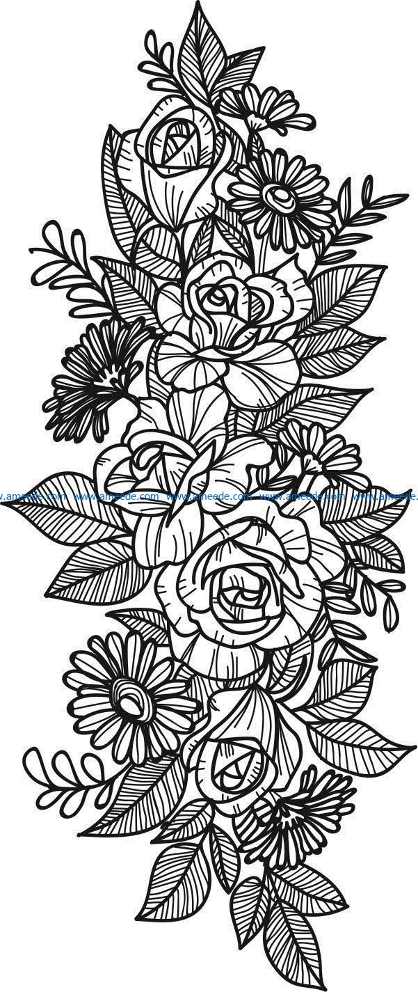 Decorative flower bunches file cdr and dxf free vector download for laser engraving machines