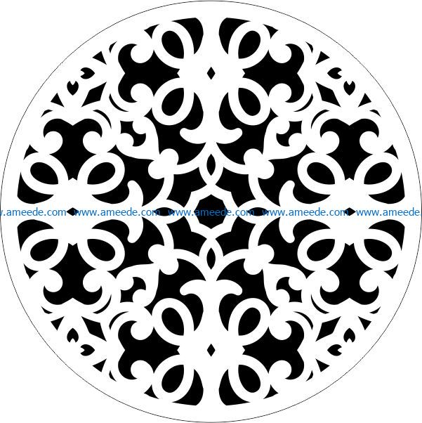 Decorative motifs circle E0009429 file cdr and dxf free vector download for Laser cut