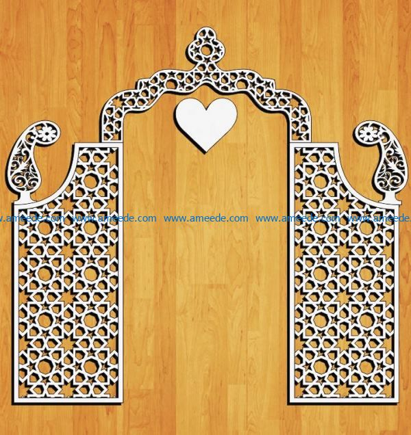 Design pattern Wedding gate E0009159 file cdr and dxf free vector download for Laser cut CNC