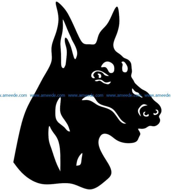 Doberman dog file cdr and dxf free vector download for Laser cut Plasma