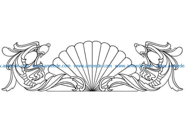 Dragon pattern in the center file cdr and dxf free vector download for CNC cut