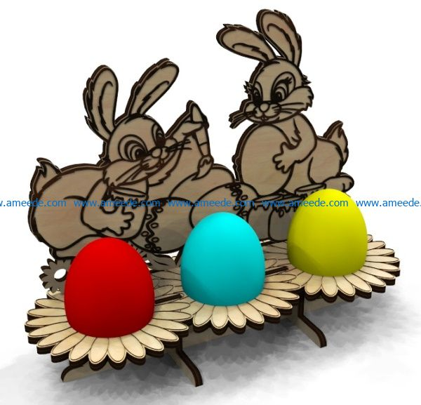 Easter Egg Tray Holder Stand two rabbit file cdr and dxf free vector download for Laser cut