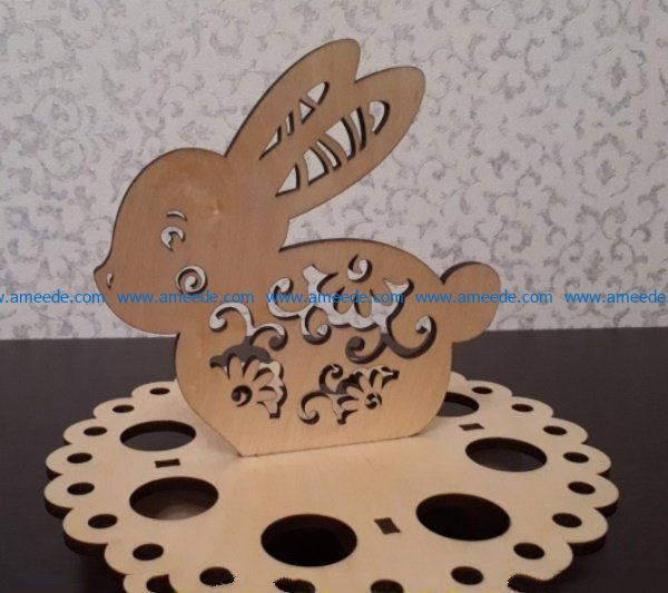 Easter egg stand with a hare file cdr and dxf free vector download for Laser cut