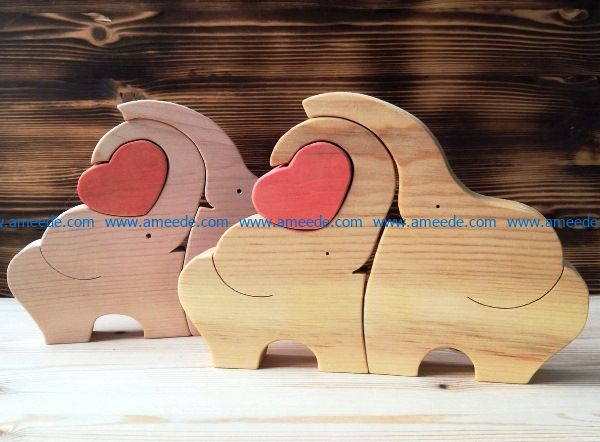 Elephant with heart file cdr and dxf free vector download for Laser cut