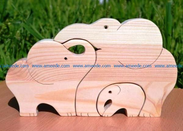 Elephants puzzle file cdr and dxf free vector download for Laser cut