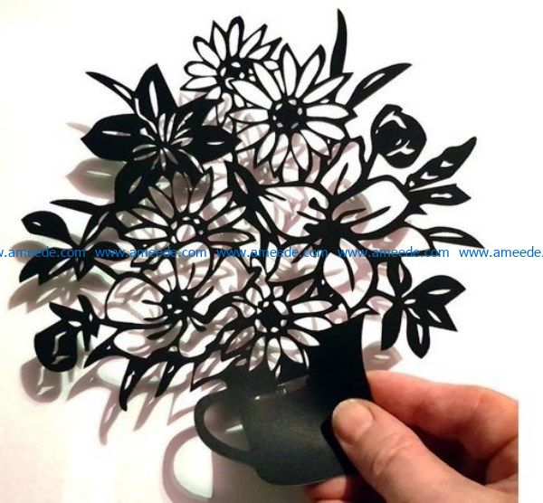 Flowers Vase file cdr and dxf free vector download for Laser cut