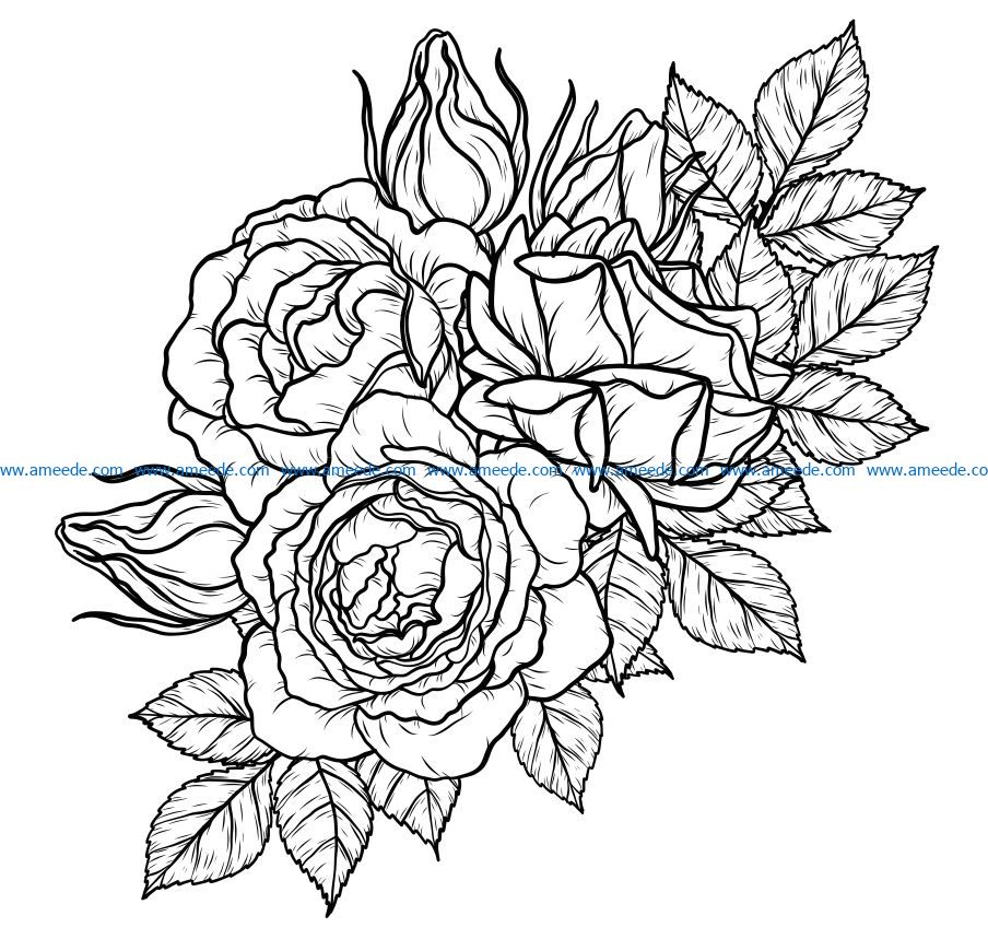 Four roses file cdr and dxf free vector download for laser engraving machines