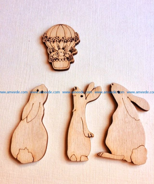 Funny Easter Rabbit file cdr and dxf free vector download for Laser cut