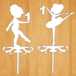 Girl ballerinas topper file cdr and dxf free vector download for Laser cut