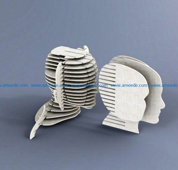 Head file cdr and dxf free vector download for Laser cut