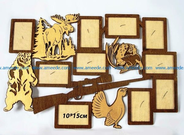 Hunter photo frame file cdr and dxf free vector download for Laser cut