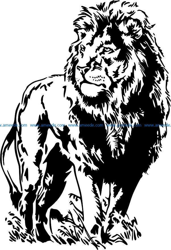Lion on the grass file cdr and dxf free vector download for laser engraving machines