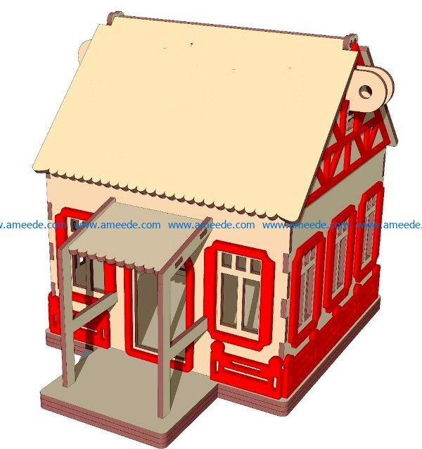 Lovely house file cdr and dxf free vector download for Laser cut