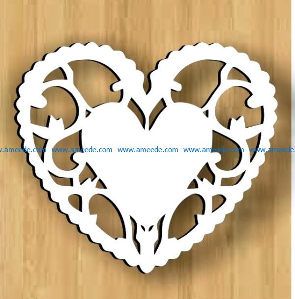 Loving heart file cdr and dxf free vector download for Laser cut