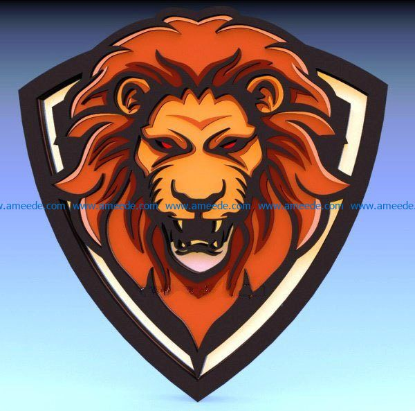 Multilayer Lion file cdr and dxf free vector download for Laser cut