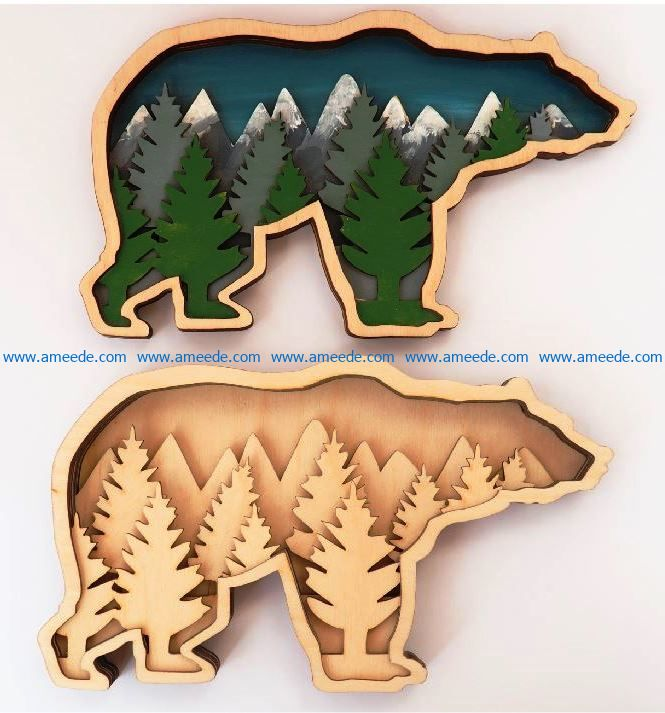 Multilayered bear file cdr and dxf free vector download for Laser cut