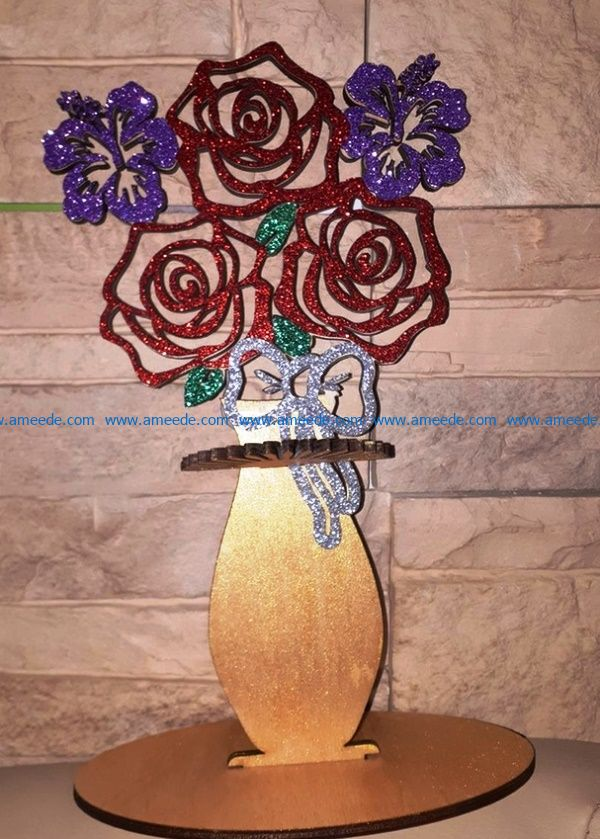 Napkin holder roses in a vase file cdr and dxf free vector download for Laser cut