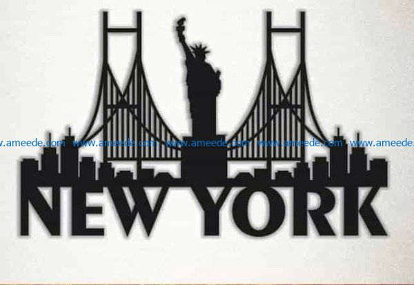 New York symbol file cdr and dxf free vector download for Laser cut