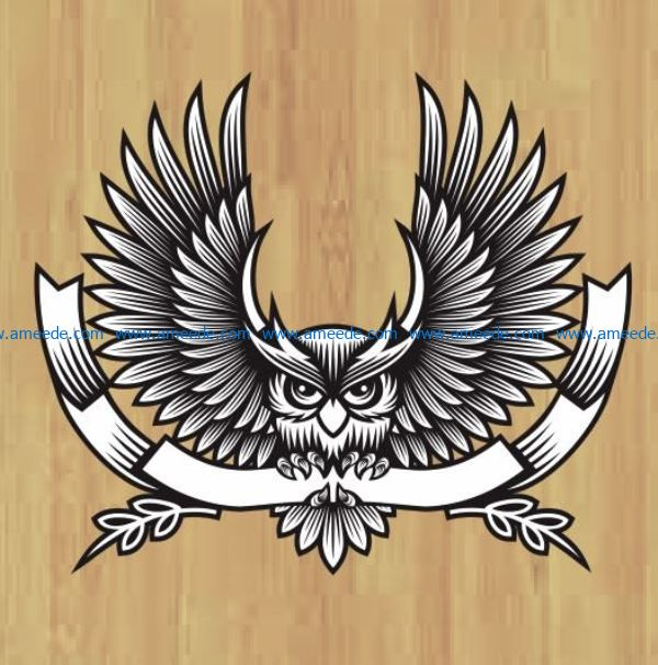 Owl logo file cdr and dxf free vector download for laser engraving machines