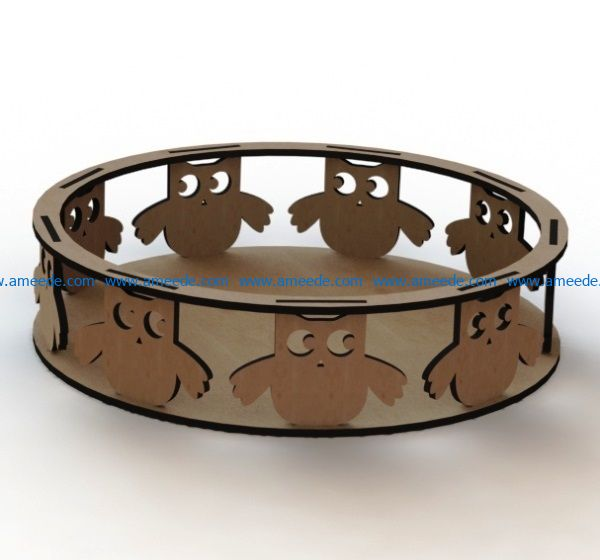 Owl tray file cdr and dxf free vector download for Laser cut
