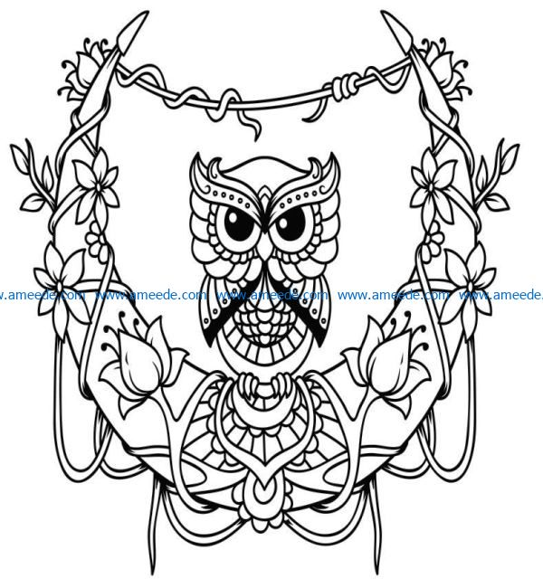 Owl with the moon file cdr and dxf free vector download for Laser cut