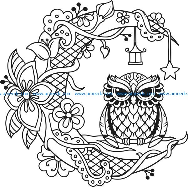 Owl with the moon file cdr and dxf free vector download for laser engraving machines
