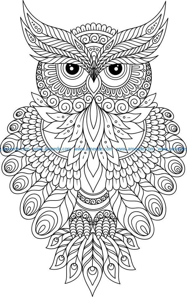 Owls with gorgeous fur file cdr and dxf free vector download for laser engraving machines