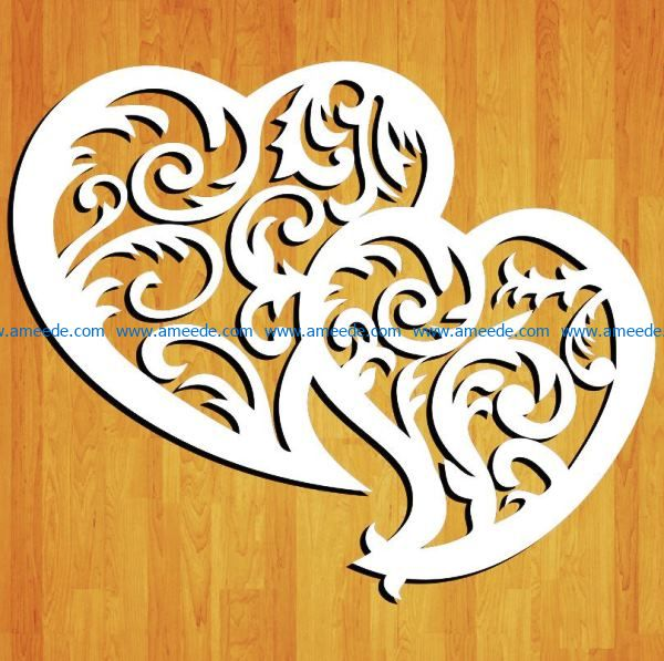 Pair of hearts file cdr and dxf free vector download for Laser cut