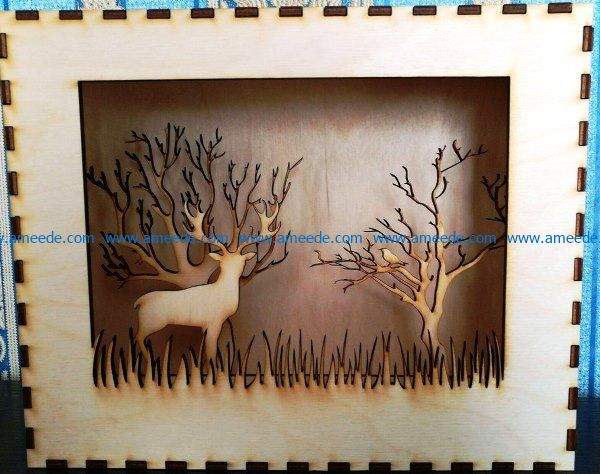 Photo 3d deer and forest file cdr and dxf free vector download for Laser cut