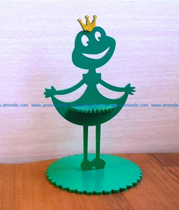 Princess Frog napkin holder file cdr and dxf free vector download for Laser cut