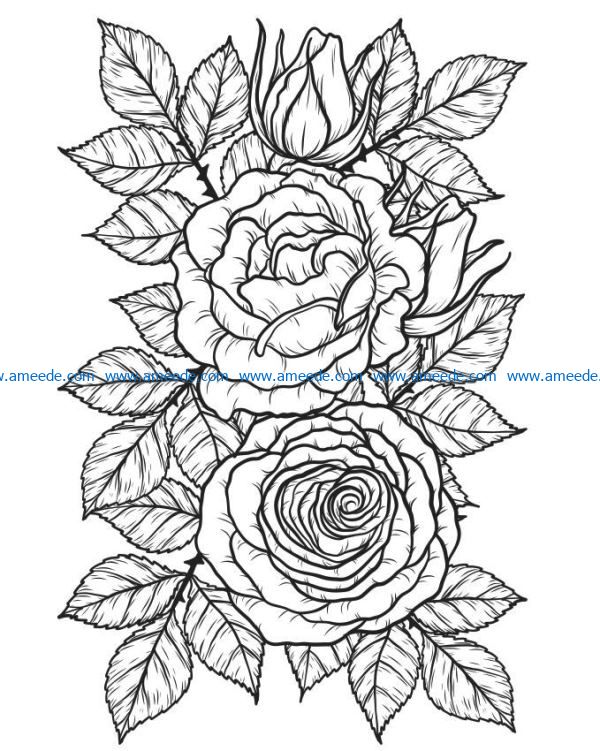 Rose with buds file cdr and dxf free vector download for laser engraving machines
