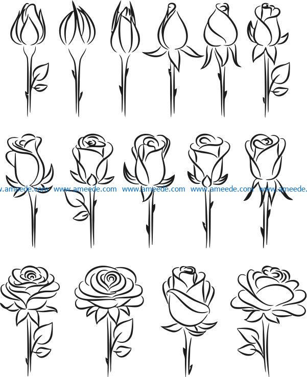 Rosebud file cdr and dxf free vector download for laser engraving machines